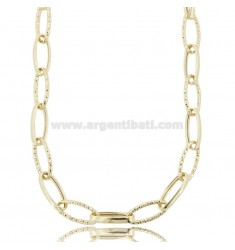 CABLE NECKLACE EXTENDED 20X8 MM CRUSHED BARREL 3.2 MM IN DIAMOND AND GOLDEN SILVER TIT 925 CM 45