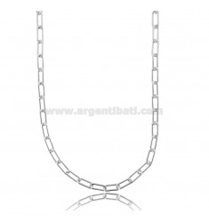 CABLE NECKLACE EXTENDED 9X3.5 MM ROUND BARREL 1 MM SILVER RHODIUM TIT 925 CM 45