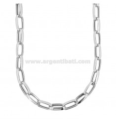 CABLE NECKLACE EXTENDED MM 15X8 CRUSHED BARREL 3.4 MM SILVER RHODIUM TIT 925 CM 45