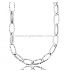 CABLE NECKLACE EXTENDED MM 20X8 CRUSHED BARREL MM 3.2 IN DIAMOND AND RHODIUM-PLATED SILVER TIT 925 CM 45