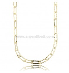 CABLE NECKLACE EXTENDED MM 14X6 PLATE MM 1.5 IN HAMMERED SILVER AND GOLDEN TIT 925 CM 60