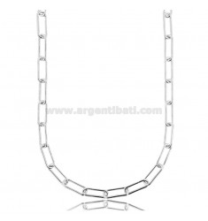 CABLE NECKLACE EXTENDED 13X5 MM ROUND BARREL 1.2 MM SILVER RHODIUM TIT 925 CM 60