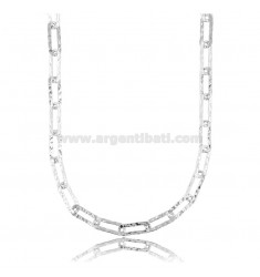 CABLE NECKLACE EXTENDED MM 14X6 PLATE MM 1,5 IN HAMMERED SILVER AND RHODIUM TIT 925 CM 60