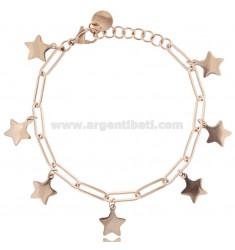 BRACELET WITH PENDANT STARS IN ROSE STEEL 18 CM