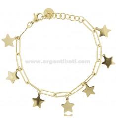 BRACELET WITH PENDANT STARS IN GOLDEN STEEL CM 18