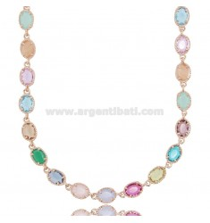 NECKLACE WITH HYDROTHERMAL OVAL STONES COLORED IN ROSE SILVER TIT 925 CM 43