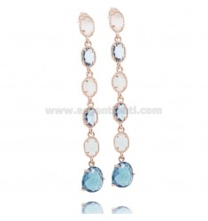 PENDANT EARRINGS MM 70 WITH COLORED HYDROTHERMAL STONES IN ROSE SILVER TIT 925