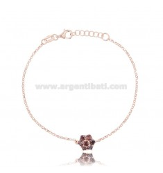 ROLO BRACELET 'WITH CENTRAL FLOWER IN ROSE SILVER TIT 925 CM 17-19 AND ZIRCONS