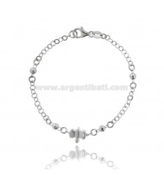ROLO BRACELET WITH CENTRAL DISC AND DRAGONFLY BALLS IN RHODIUM-PLATED SILVER TIT 925 ‰ CM 18