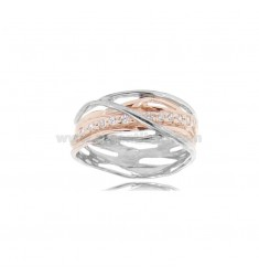 RING INTRECCI IN RHODIUM-PLATED AND ROSE-PLATED SILVER TIT 925 ‰ WITH ZIRCONS SIZE 13