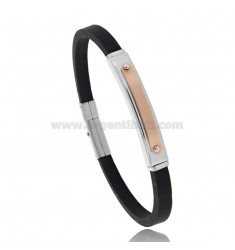 BRACELET WITH STEEL AND RUBBER PLATE CM 21