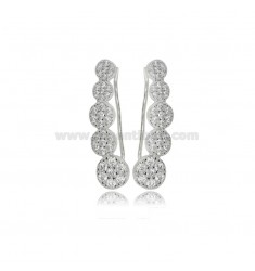 EAR CUFF EARRINGS WITH DEGRADE CIRCLES IN SILVER RHODIUM TIT 925 AND ZIRCONS