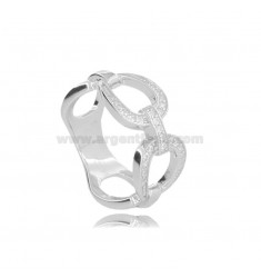 CHAIN RING IN SILVER RHODIUM-PLATED TIT 925 AND WHITE ZIRCONS MEASURE 14