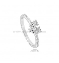 PIXEL HEART RING IN SILVER RHODIUM-PLATED TIT 925 AND WHITE ZIRCONS SIZE 20