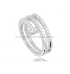 NAIL RING IN RHODIUM-PLATED SILVER TIT 925 AND WHITE ZIRCONS MEASURE 17