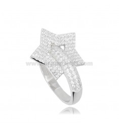 STAR RING IN RHODIUM-PLATED SILVER TIT 925 AND WHITE ZIRCONS SIZE 12