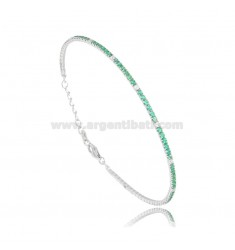 TENNIS BRACELET WITH WHITE AND GREEN ZIRCONIA MM 2 SILVER RHODIUM TIT 925 ‰ CM 18-21