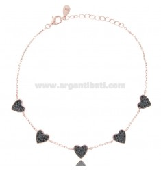CABLE BRACELET WITH 5 HEARTS IN ROSE SILVER TIT 925 AND BLACK ZIRCONS CM 18-21