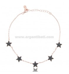 CABLE BRACELET WITH 5 STARS IN ROSE SILVER TIT 925 AND BLACK ZIRCONS CM 18-21