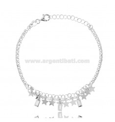 ROLO BRACELET WITH STARS AND PENDANT STONES SILVER RHODIUM TIT 925 CM 16-19