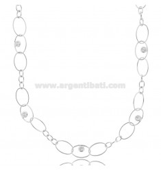 OVAL NECKLACE WITH ZIRCONS IN RHODIUM-PLATED SILVER TIT 925 CM 40-43