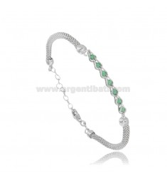 POP CORN BRACELET WITH GREEN STONES IN RHODIUM-PLATED SILVER TIT 925 CM 16-19