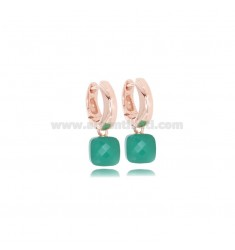 HOOP OHRRINGE SNAP DIAM MM 8 MIT HYDROTHERMAL STONE GREEN ANHÄNGER IN ROSE SILVER TIT 925