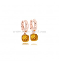 HOOP EARRINGS SNAP DIAM MM 8 WITH HYDROTHERMAL STONE CHAMPAGNE PENDANT IN ROSE SILVER TIT 925