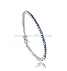 TENNIS BRACELET 2.5 MM IN RHODIUM-PLATED SILVER WITH BLUE ZIRCONS 19 CM