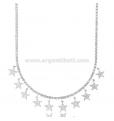 TENNIS NECKLACE WITH PENDANT STARS IN SILVER RHODIUM TIT 925 AND ZIRCONS CM 45