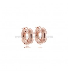 HOOP EARRINGS DURCHMESSER 8 RUND BEARBEITETES FASS 6 MM IN ROSE SILVER TIT 925