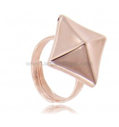 ELECTROFORMED RING STUD IN ROSE SILVER TIT 925 ADJUSTABLE SIZE FROM 18