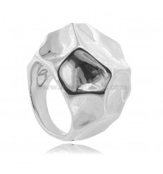 ELECTROFORMED HEXAGONAL RING IN RHODIUM-PLATED SILVER TIT 925 MEASURE 18