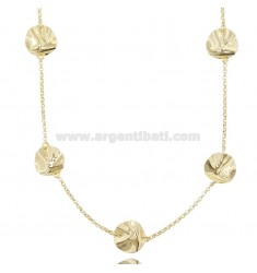 ROLO 'NECKLACE WITH ALTERNATE DISCS IN SILVER GOLDEN TIT 925 CM 90