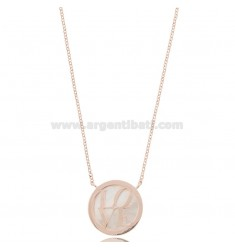 ROLO NECKLACE WITH ROUND MEDAL 20 MM IN MOTHER OF PEARL AND LOVE IN ROSE SILVER TIT 925