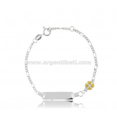 FIGARO BRACELET WITH PLATE AND QUADRIFOGLIO IN SILVER RHODIUM TIT 925 AND YELLOW ENAMEL CM 14-16