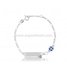 FIGARO BRACELET WITH PLATE AND QUADRIFOGLIO IN SILVER RHODIUM-PLATED TIT 925 AND BLUE ENAMEL CM 14-16