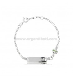 FIGARO BRACELET WITH PLATE AND FISH IN SILVER RHODIUM TIT 925 AND GREEN ENAMEL CM 14-16