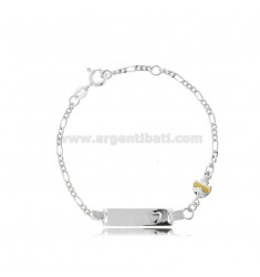 FIGARO BRACELET WITH PLATE AND FISH IN SILVER RHODIUM TIT 925 AND YELLOW ENAMEL CM 14-16