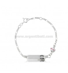 FIGARO BRACELET WITH PLATE AND FISH IN SILVER RHODIUM TIT 925 AND FUCHSIA ENAMEL CM 14-16