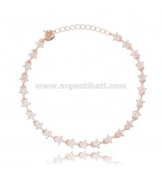 BRACELET WITH STARS IN ROSE SILVER TIT 925 ‰ AND WHITE ZIRCONS CM 17-20