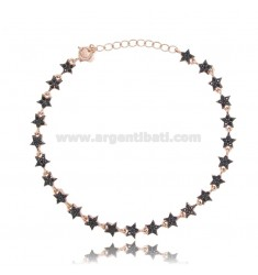 BRACELET WITH STARS IN ROSE SILVER TIT 925 ‰ AND BLACK ZIRCONS 17-20 CM