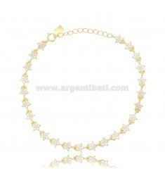 BRACELET WITH STARS IN SILVER GOLDEN TIT 925 ‰ AND WHITE ZIRCONS 17-20 CM