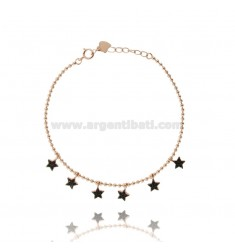 BALL BRACELET WITH PENDANT STARS IN ROSE SILVER TIT 925 ‰ AND BLACK ZIRCONS 17-20 CM