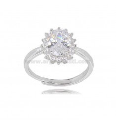 OVAL RING MM 12X10 KATE MODEL IN SILVER RHODIUM-PLATED TIT 925 ‰ AND WHITE ZIRCONS, ADJUSTABLE SIZE OF 13