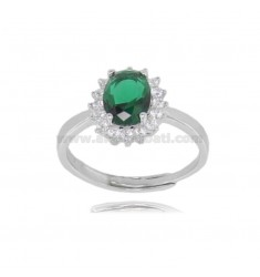 OVAL RING MM 12X10 KATE MODEL IN SILVER RHODIUM TIT 925 ‰ AND WHITE AND GREEN ZIRCONS, ADJUSTABLE SIZE 13