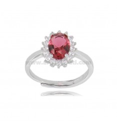 OVAL RING MM 12X10 KATE MODEL IN SILVER RHODIUM-PLATED TIT 925 ‰ AND WHITE AND RED ZIRCONIA ADJUSTABLE SIZE 13