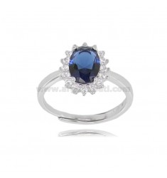 OVAL RING MM 12X10 KATE MODEL IN SILVER RHODIUM-PLATED TIT 925 ‰ AND WHITE AND BLUE ZIRCONIA ADJUSTABLE SIZE 13