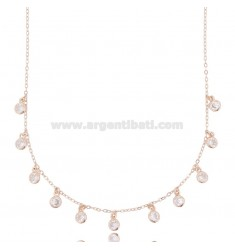 CABLE NECKLACE WITH WHITE ZIRCONIA PENDANTS IN ROSE SILVER TIT 925 ‰ CM 42-45