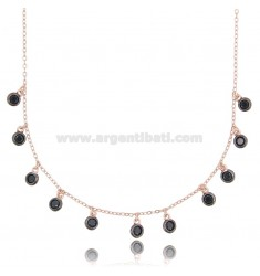 CABLE NECKLACE WITH BLACK ZIRCONIA PENDANTS IN ROSE SILVER TIT 925 ‰ CM 42-45